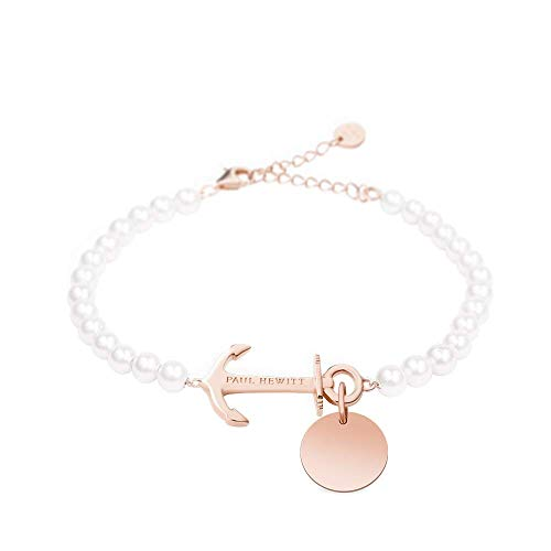 PAUL HEWITT Perlenarmband Damen Anchor Spirit - Armkette Damen mit Anker Schmuck und Gravuranhänger aus Edelstahl (Rosegold)