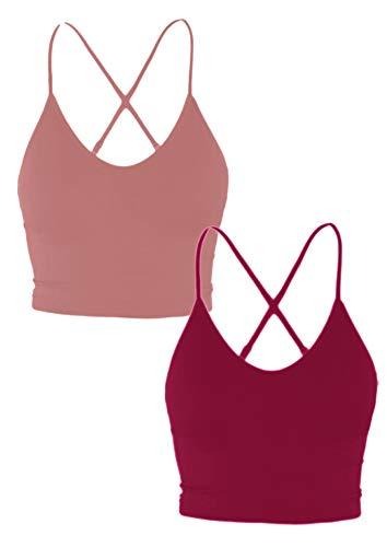 TOP LEGGING Women Padded Workout Sports Bra - Fitness Cami Cropped Yoga Tank Top MAUV_Burg Small to Medium