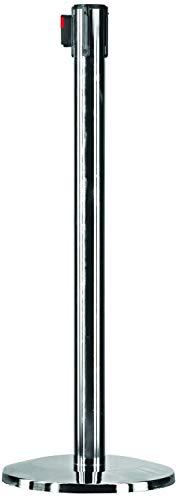 OPUS - Soporte de barrera para cinturón (2 colas, 11 kg, 2,5 m, correa negra retráctil, placa base de hormigón resistente, cromado