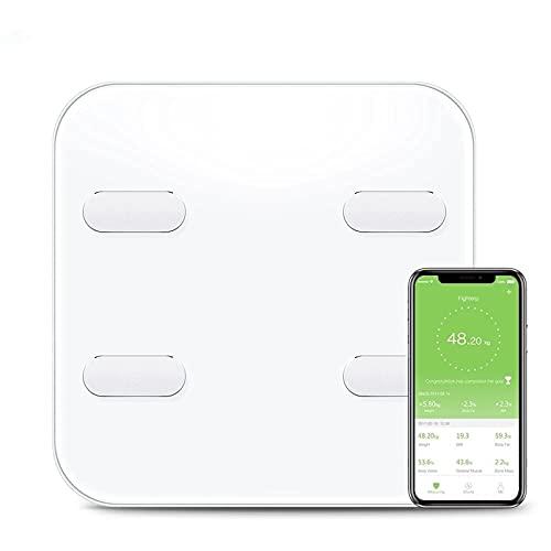 Feixunfan Bascula Grasa Corporal WiFi Bluetooth Peso Digital Escala De Grasa Corporal Electrónica Inteligente para la Oficina en Casa (Color : White, Size : 31x31cm)