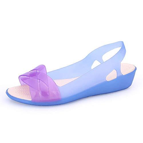 Sandalia Casual con Tiras,Sandalias de cuña de gelatina de Verano para Mujer, Sandalias de plástico de Cristal con Boca de pez en la Playa-Royal Blue Purple_37,Sandalias de Ducha