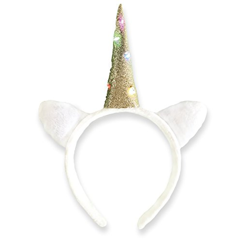 EinhornLiebe® Haarreif Einhorn Kostüm weiß mit LED Licht (inkl. Batterie) Damen Mädchen Herren