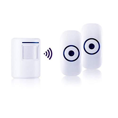 Durchgangsalarm, HommyFine Ladenglocke Funkalarmanlage mit Bewegungsmelder Zutrittsmelder Beweungsklingel mit 36 Klingeltönen Auffahrts-Alarmset mit Blauer LED Anzeige