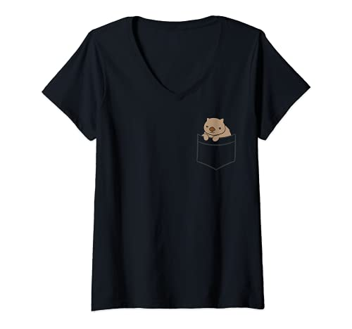 Mujer El bebé Wombat en el bolsillo Lindo Wombat australiano Camiseta Cuello V