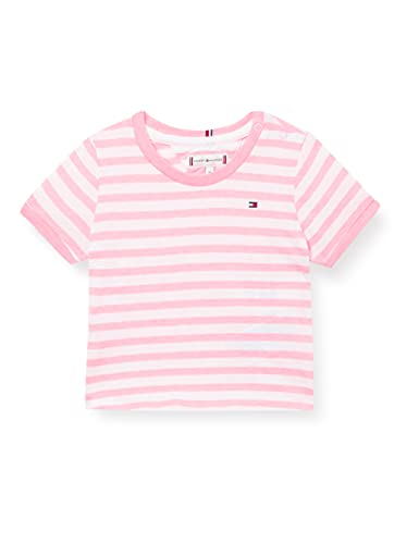 Tommy Hilfiger Essential Stripe Top S/S Camisa, Algodón de azúcar/Blanco, 86 cm para Niñas