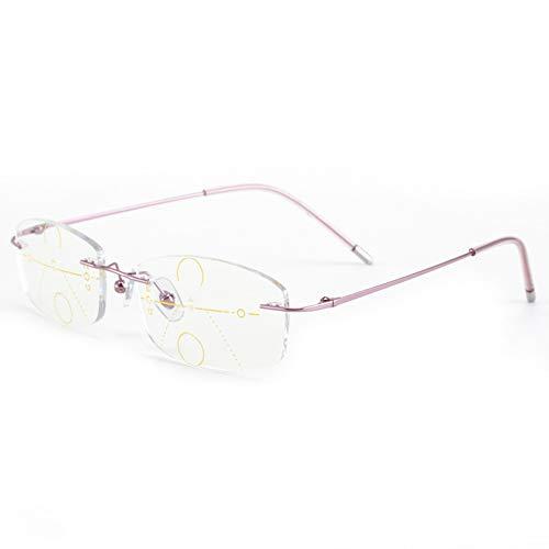 CAOXN Ultra Light Frameless Reading Glasses for Womens Progressive Multifocal Anti Blue Light Blocking Lenses Optical Eyewear,Pink,+2.50