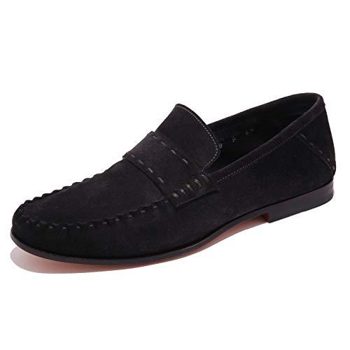Santoni 5309AB Mocassino Uomo Suede Dark Blue Shoe Men [6.5]