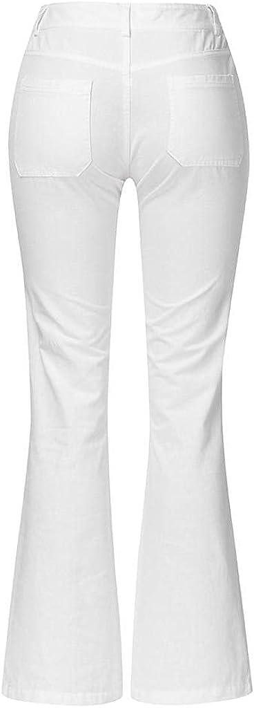 LEIYAN Womens Casual Bell Bottom Denim Pants Stretch High Waist Bodybuilding Capri Yoga Bootcut Jeans Business Flares