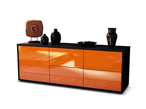 Stil.Zeit TV Schrank Lowboard Cedric, Korpus in anthrazit matt/Front im Hochglanz-Design Mandarine (135x49x35cm), mit Push-to-Open Technik und hochwertigen Leichtlaufschienen, Made in Germany