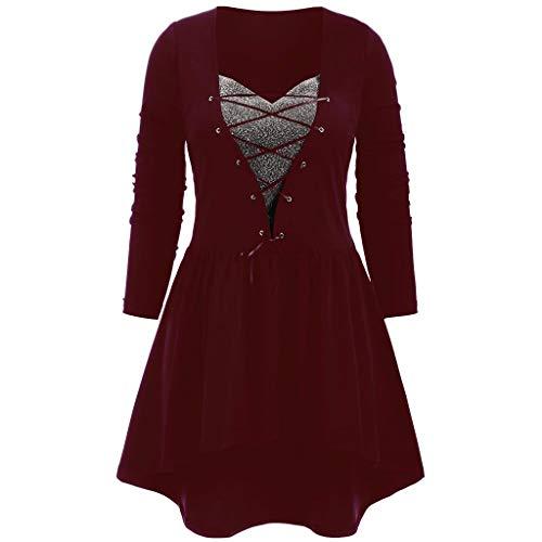 TEELONG Kleider Damen Art und Weise beiläufiges Plus Größen-festes Querverband-langes Hülsen-Patchwork-Kleid Ballkleid Partykleid Cocktailkleid(XXXL, Wein)