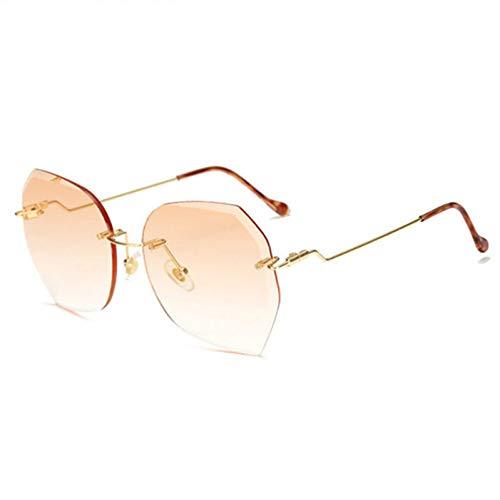 Chudanba Gafas graduadas sin Montura para Mujeres Gafas extragrandes Gafas de Sol de Diamante Gafas de Sol sin Marco para Mujer,Naranja
