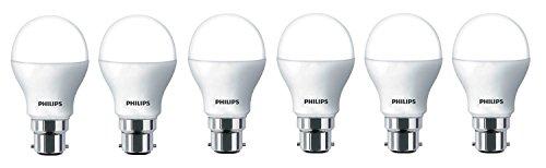 Philips Base B22 9-Watt LED Bulb (Pack of 6, White)