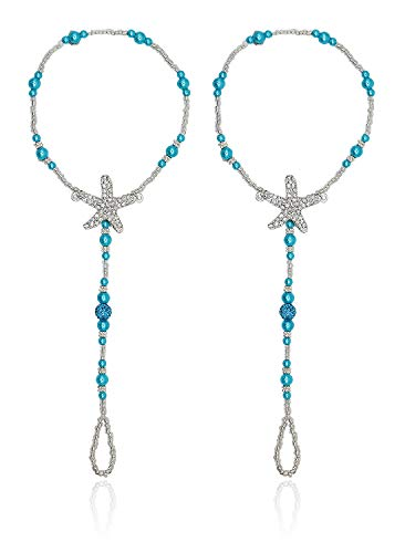 Bienvenu 2 PC Wedding Barefoot Sandals Foot Jewelry Anlet Chain, Blue