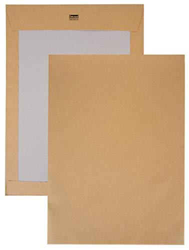 Idena 10249 - Versandtasche DIN C4, 120 g/m², haftklebend, ohne Fenster, mit Papprückwand, FSC-Recycled, natron-braun, 100 Stück