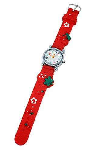 Weiche Silikon-Mädchen-Uhr-Erdbeere-fruchtiges Thema-Spaß-Kind-Silber-mehrfarbige Zahl-Skala-analoge Quarz-Bewegung (Rot)