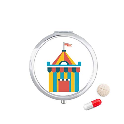 DIYthinker Geweldig Grappig Park Tent Illustratie Reizen Pocket Pill Case Medicine Drug Opbergdoos Dispenser Spiegel Gift