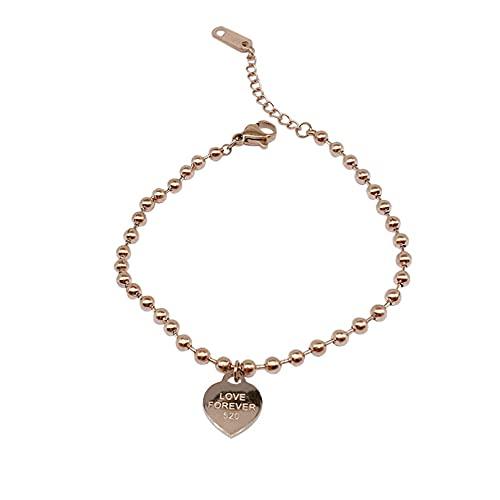 N/A Titanio Acero Que no se desvanece Love Heart 520 Cuentas Redondas Pulsera de Oro Rosa Moda Femenina Pulsera de Todo fósforoAniversario Día de la Boda Navidad Día de la Madre Regalo de cumpleaños.