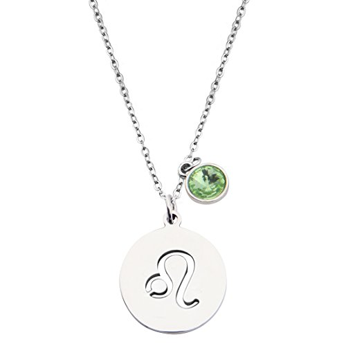 KUIYAI Stainless Steel Zodiac Sign and Birthstone Charm Necklace Bracelet (August-Leo necklace)