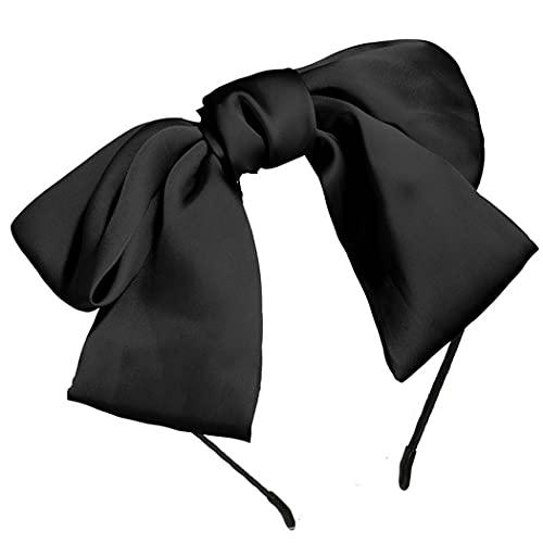 Runmi Vintage - Diadema para el pelo, color rojo con lazo y mariposa, accesorio para el pelo para mujeres y niñas, color negro