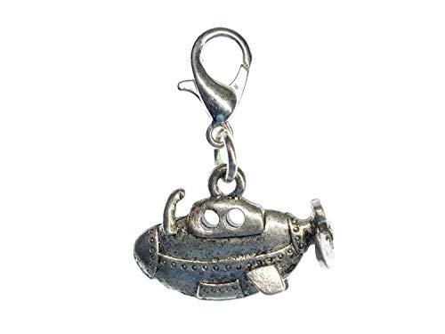 Miniblings U-Boot maritim Boot Charm Zipper Pull Yellow Submarine Uboot - Handmade Modeschmuck I Kettenanhänger versilbert - Bettelanhänger Bettelarmband - Anhänger für Armband