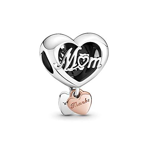 Annmors Abalorios Corazón Gracias Mamá de Plata 925 de Primera Ley Colgantes para Pulseras