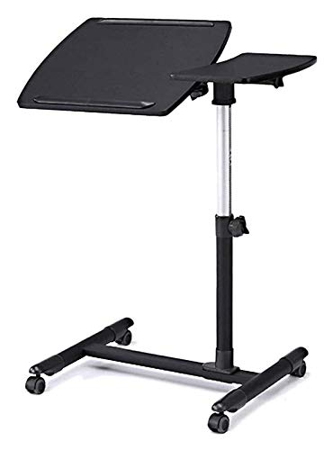 WANGLX Side Table Tray Table for Bed or Chair, Adjustable Desks Tilting Sit-Stand Laptop Desk Cart with Mouse Pad Table, Height Adjustable from 58.5-85cm, Sofa/Bedside Study Desk (Color : Black)