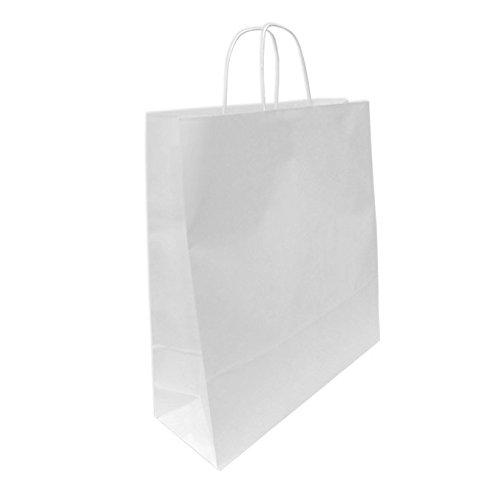 200 Bolsas de Papel Blancas 45+15x49 cm. Bolsa de celulosa c