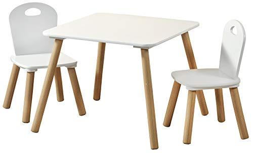 Kesper Mesa infantil con 2 sillas; color blanco, tamaño: mesa 55 x 55 x 45 cm, silla 27,5 x 27,5 x 50,5 cm, 1771213