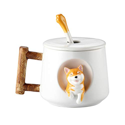Dyyicun12 Koffie Beker, Leuke Cartoon Dier Hond Keramisch Drinkende Water Cup Koffie Thee Mok met Deksel Lepel