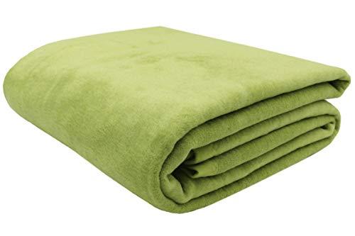 ZOLLNER Manta para Cama 90, Verde, 60% algodón, Medidas