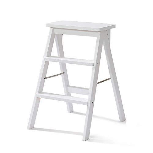 STOOL Kleiner Sitz, Schuhhocker, Barhocker, Esszimmerhocker, Restauranthocker, Trittleiter , Stuhl, Tische und Stühle, 3-stufiger Massivholzhaus-Leiterstuhl Einfache moderne tragbare Klappküche Hochh