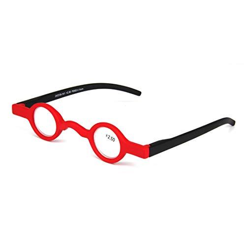 Inlefen Unisex Mini Marco redondo Bisagra de primavera Lector Gafas de lectura