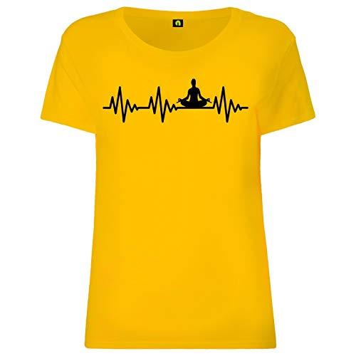 Herzschlag Yoga Damen T-Shirt   EKG   Joga   Entspannung   Wellness   Sport Gelb M
