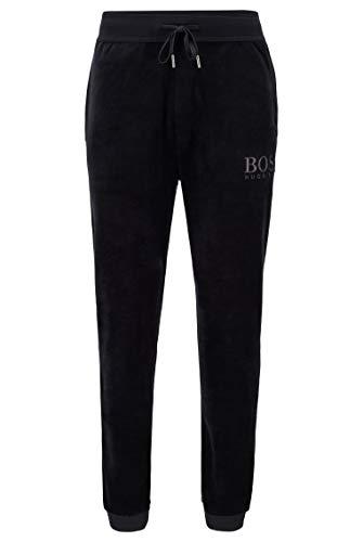 BOSS Herren Velour Pants Loungewear-Hose aus Baumwoll-Mix-Velours mit Logo-Stickerei