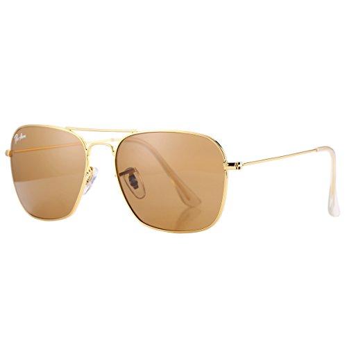 Pro Acme PA3136 Crystal Lens Square Sunglasses (Gold Frame/Crystal G15 Lens)