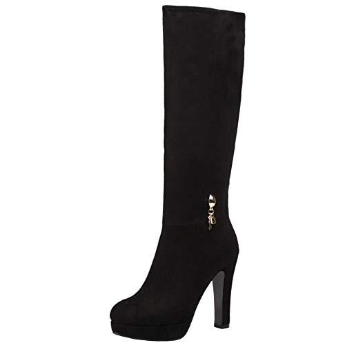 Lydee Mujer Elegant Botas Altas Tacón Anchos Botas Muslo Plataforma Dress Botas Largas Oficina Invierno Zapatos Tacones Cremallera Black Tamaño 39