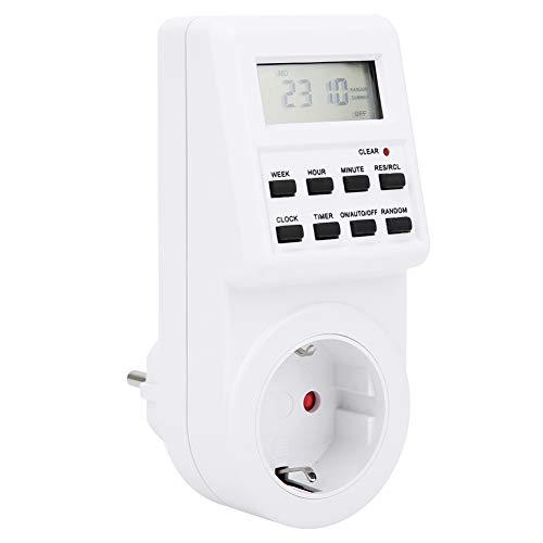 Enchufe de la UE Temporizador de salida digital de 230 V Enchufe de 4 clavijas de alta precisión Enchufe de temporizador enchufable para control de equipos electrónicos Interruptor de