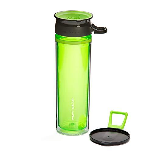 Wow Gear - Botella deportiva tritán de doble pared de 360°, 600 ml, color verde