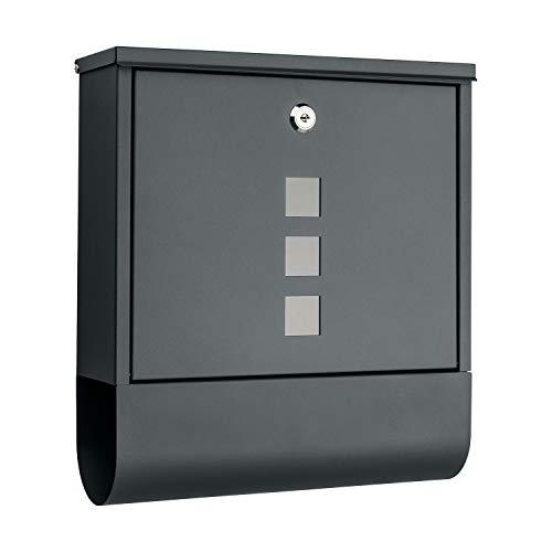 1PLUS Briefkasten Postkasten Wandbriefkasten mit Zeitungsrolle/Zeitungsfach mit schützender Beschichtung (ohne Namenschild, anthrazit)