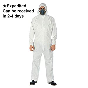 Disposable Protective Coverall with Hood and Elastic Cuffs White SMS Full Body Isolation Suit Safety Work Gowns Clothing (X-Large, 5PCS)