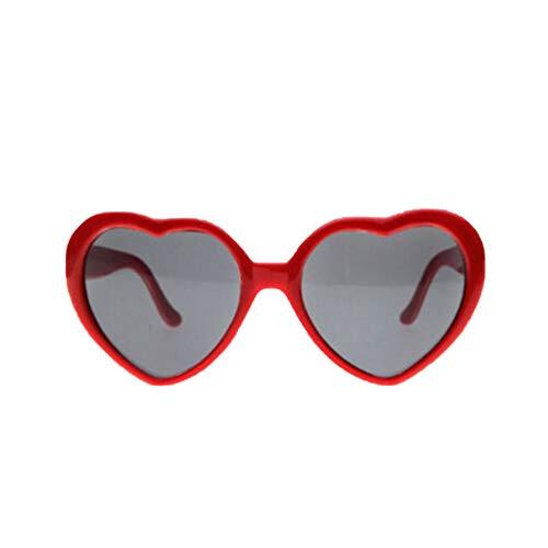 Fenical Frauen Interessante Pfirsich Herz Spezialeffekte Brille für Bar Nachtclub (Rot)
