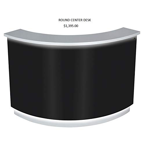 LED Illuminated Curved Reception Desk Reception Area Counter - JANUS - Black/Silver (Center Desk Only)