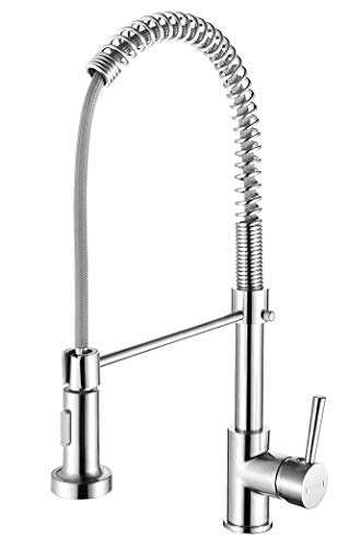 Kitchen Faucet with Pull Down Sprayer, Commercial Single Handle Kitchen Sink Faucet with Two Function Sprayer, Ddtohan Brushed Nickel Stainless Steel Sink Faucet