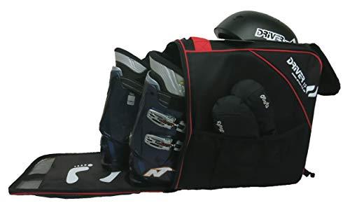 Driver13 ® Skischuhtasche Skistiefeltasche mit Helmfach für Hart Softboots Inliner und Bootbag Tasche schwarz-rot