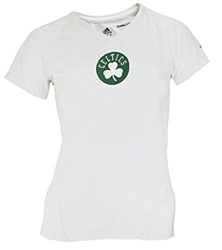 adidas Boston Celtics NBA Women's Short Sleeve V-Neck Climalite T-Shirt, White