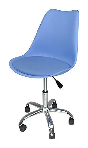 Sedia da Ufficio Girevole, Sedia da scrivania Azzurra con rotelle MOD. Sally