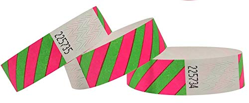 "500 pezzi - 19 mm 3/4"" Tyvek Wristbands, Tyvek Braccialetti, Tyvek Bracciali, Festival Braccialetti, Night-Club Braccialetti (Pink-Green, 500 Pack)"