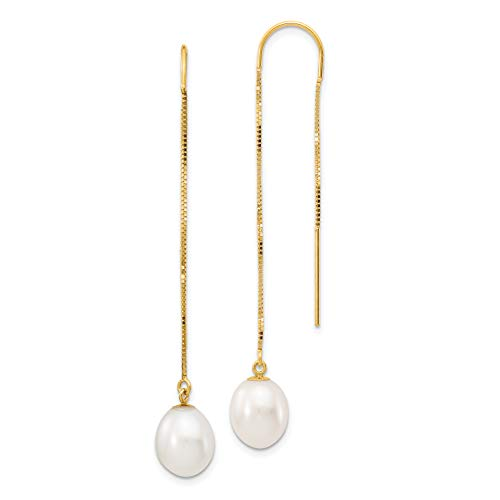 14k Yellow Gold White Rice Freshwater Cultured Pearl Box Chain Threader Earrings (7-8mm)