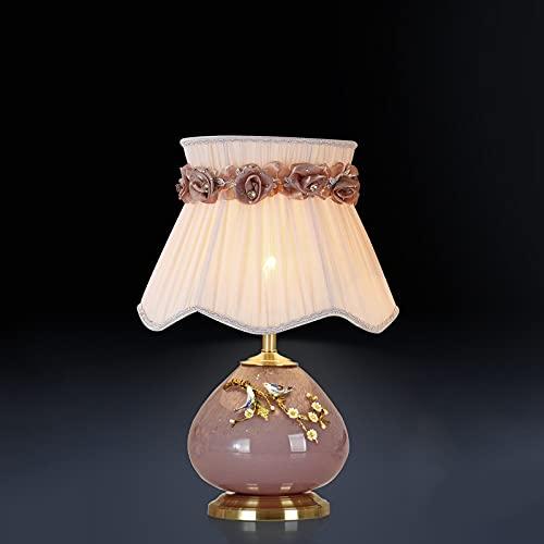 Zenghh Pink cerámica de noche de noche de noche lámpara de noche esmalte caring ramificación pájaro 3d escultura escultura lámpara mesa a mano escritorio con pétalo sombra para mujer mujer madre dormi