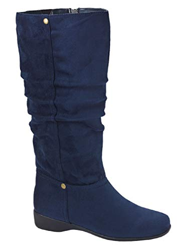 AmeriMark Women's Ashley Slouch Boot Micro Suede Knee High Fashion Low Heel Side Zip Navy 12 Medium US Women